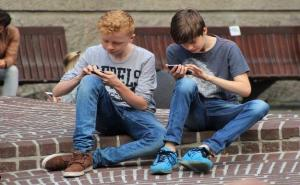 Boys playing android games