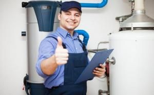 engineer with hot water system